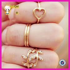 small rings design images Mini gold fingers knuckles ring heart and leaves design for ladies jpg