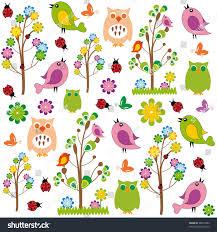 cute kids cartoon flowers birds stock vector 98073284 shutterstock