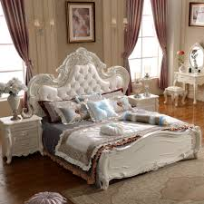 High End Bedroom Furniture End Fashion Leather Bed Continental Low Box Carved Princess