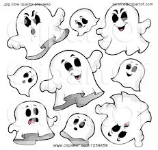 clipart of halloween ghosts flying royalty free vector