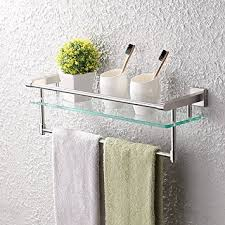 Wall Mounted Bathroom Shelves Kes Glass Shelf Bathroom Shelf Towel Rack Single Bar