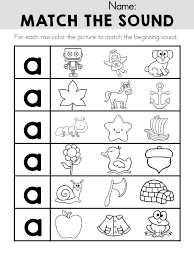match the sound worksheet for letter a part of the alphabet