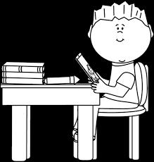 White Art Desk Black And White Boy At Desk With Tablet Clip Art Black