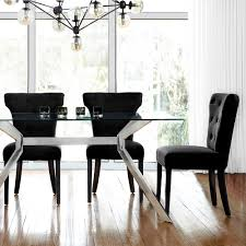 atelier glass top dining table with stainless steel legs tables