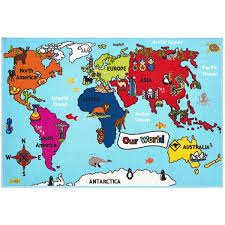 World Map Cartoon by Buy Online Bambino World Map Mat At Therugshopuk