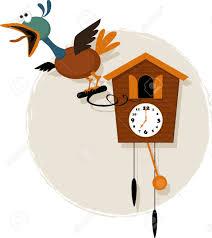 Antique Cuckoo Clock Funny Mechanical Bird Emerging From A Striking Antique Cuckoo
