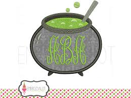 cauldron applique embroidery design cauldron monogram frame for