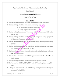 Digital Electronics Lab Manual All Experiments Vidyarthiplus