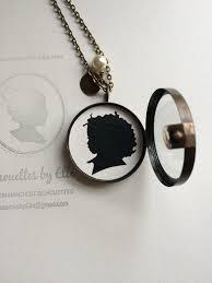 custom locket necklace antique brass glass shadow box locket with custom silhouette