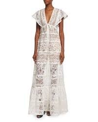 elie saab butterfly sleeve tiered lace gown gardenia