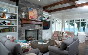 stone fireplace living room with black river ashlar stone