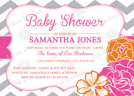 chevron flowers baby shower invitations kustom kreations