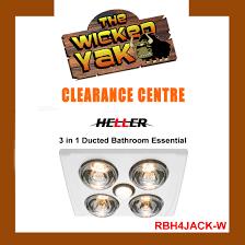 heller silver 3in1 ducted bathroom light heater essential rbh4jack