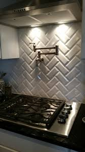 Kitchen Subway Tiles Backsplash Pictures Back Splash White Beveled Subway Tiles In Chevron Pattern With
