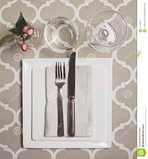 overhead view of a moroccan fine dining table setting stock photo