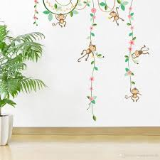Nursery Stickers Cartoon Monkey Climbing Flower Vine Wall Decals Kids Room Nursery