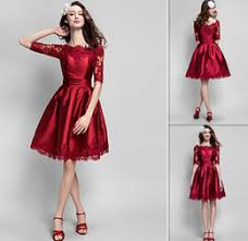 designer cocktail dresses designer cocktail dresses 2015 half sleeves knee length burgundy