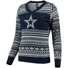 cowboys sweater s dallas cowboys navy big logo aztec v neck sweater
