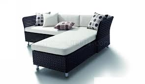 Patio Sectional Sofa Black Modern Patio Sectional Sofa W White Cushions