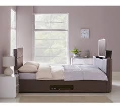 buy hygena gemini double tv bed frame chocolate at argos co uk