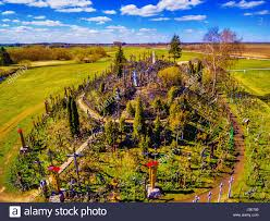 siauliai region lithuania aerial above view of hill of crosses