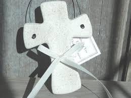 personalized cross salt dough ornament baptism christening favor