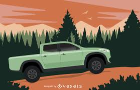 Old Ford Truck Vector - pickup illustration on the wilderness vector download