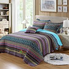 hnnsi bohemian quilt comforter sets queen size  piece striped  with hnnsi bohemian quilt comforter sets queen size  piece striped patchwork  boho bedspread set cotton boho bed sheets wedding gift exotic bedding sets from aluxurybedcom