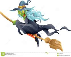 halloween witch on broom stock photo image 34854290