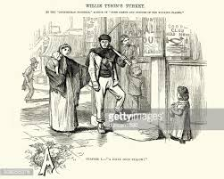 victorian pub landlady with a tray of drinks stock illustration