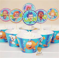 guppies cake toppers 24pcs guppies cupcake wrappers kids birthday party favors