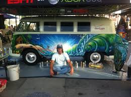 vintage surf car live painting of a vintage 1965 vw bus at vans us open drew