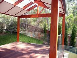 Pergola Designs With Roof by Pitched Pergola With Half Enclosed Roof Backyard Landscaping