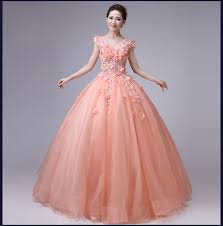 light pink floral flowers beading ball gown long medieval dress