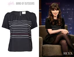 blouse band zooey deschanel s by band of outsiders woven blouse