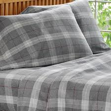 flannel sheets gray plaid heathered flannel sheet sets orvis