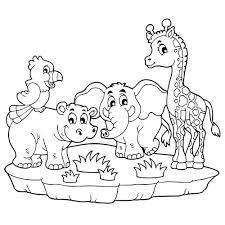 Léléphant lhippopotame le perroquet et la girafe en coloriage à