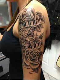 half sleeve tattoos for black ink roses with keyboard