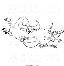 vector cartoon man running bull coloring
