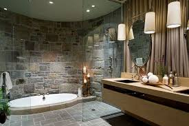 Bathroom Ideas White And Brown by Stone Wall Bathroom Design Dark Brown Vanity Double Sink White