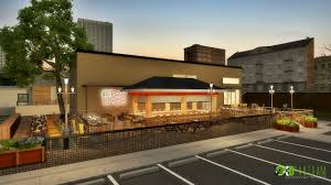 3d night view of restaurant exterior myfolio