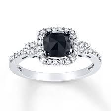 black wedding rings for jared black diamond ring 1 ct tw cushion cut 14k white gold