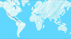 Blue World Map by Cartoon Airplane Traveling World Map Template In After Effects