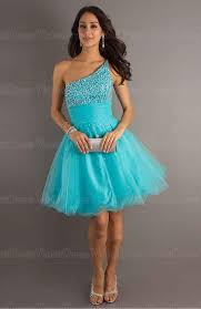a line one shoulder paillette blue sleeveless short tulle prom