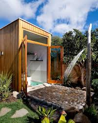 bathroom outdoor and open bathroom design with cabin wood and