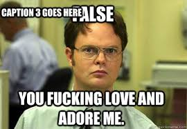 I Fucking Love You Memes - false you fucking love and adore me caption 3 goes here schrute