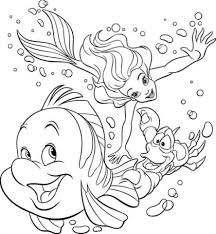 mermaid coloring page for printable pages inside flounder from the