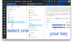 where can i find my azure account name and account key stack