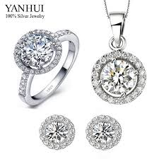 sterling silver wedding necklace images Yanhui 100 925 sterling silver wedding bijoux accessories sets cz jpg