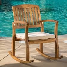 lucca outdoor acacia wood rocking chair with cushion by